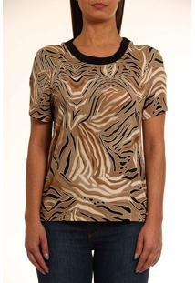 Camiseta Colcci Animal Print Bege