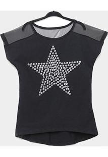 Blusa Infantil Amora Estrela Com Lantejoulas Feminina - Feminino-Preto