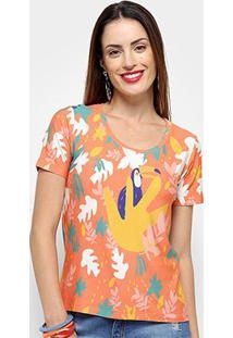 Camisetas Cantão Tucano Feminino - Feminino-Laranja+Amarelo