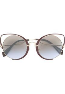 Miu Miu Eyewear Óculos De Sol Gatinho Oversized - Marrom 9bd36af430