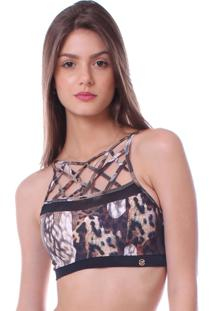 Top Simony Lingerie Trançado Trilobal Fit Abstrato Marrom