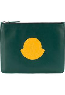 Moncler Logo Embroidered Clutch - Green