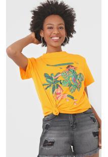 Camiseta Colcci Folhagem Amarela - Amarelo - Feminino - Algodã£O - Dafiti
