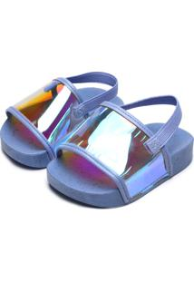 Sandália Molekinha Menina Holográfico Azul