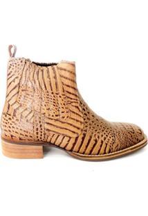 Botina Masculina Em Couro Riber Shoes Bico Quadrado - Masculino-Bege+Marrom