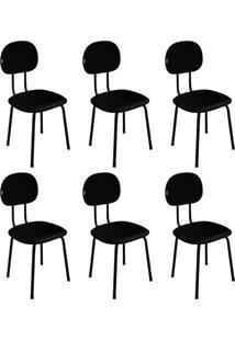 Conjunto Com 6 Cadeiras De Escritório Palito Interlocutor Fixa Tecido Preto