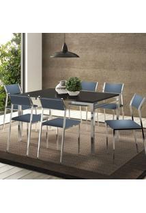 Conjunto Mesa 1526 Preta Cromada Com 6 Cadeiras 1709 Azul Noturno Carraro