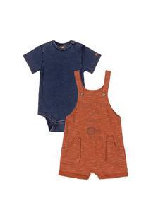 Conjunto Body E Jardineira Estampada Up Baby Azul