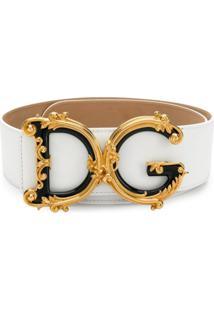 Dolce & Gabbana Cinto Com Placa De Logo - Branco