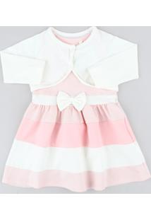 Vestido Infantil Sem Manga Rosa Claro + Bolero Manga Longa Off White