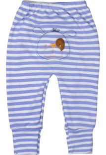 Calça De Bebê Com Pé Reversíve Bordado Listras Turquesa 13 Turquesa