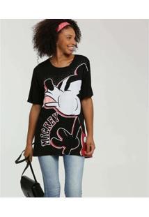 Camiseta Estampa Mickey Disney Manga Curta Feminina - Feminino-Preto
