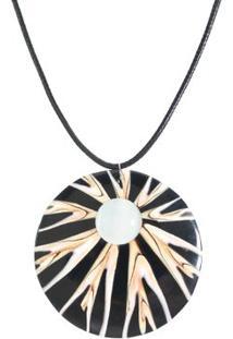 Colar Rabo De Gato Abalone Com Pedra - Feminino-Preto