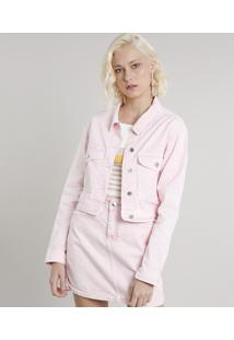 Jaqueta De Sarja Feminina Cropped Com Bolsos Rosa Claro