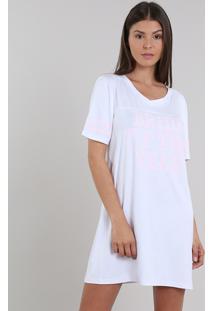 Camisola Feminina Bride Manga Curta Decote V Branca