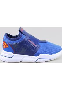 Tênis Infantil Grendene Super Homem Liga Da Justiça Com Elástico Azul Royal
