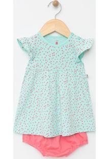 Vestido Infantil Com Estampa De Corações E Com Calcinha - Tam 0 A 18 Meses