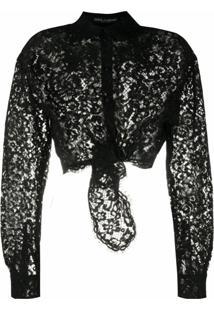 Dolce & Gabbana Camisa De Renda Translúcida - Preto