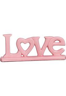 Escultura Decorativa Love Coração Rosa Bebê 11X26,5 Cm