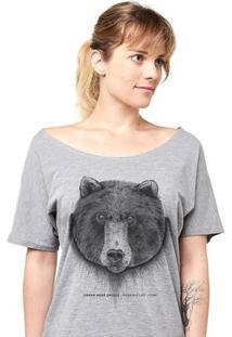 Camiseta Feminina Urban Bear Grylls Linoleum - Feminino-Cinza