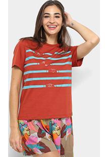 Camiseta Cantão Estampa Coração Feminina - Feminino-Vermelho Claro