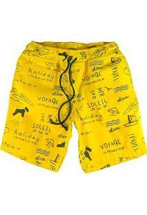 Bermuda Infantil De Oliver Algodão Ibiza Masculina - Masculino-Amarelo