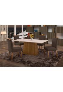 Conjunto De Mesa De Jantar Com 6 Cadeiras E Tampo De Madeira Maciça Turquia I Suede Grafite E Off White