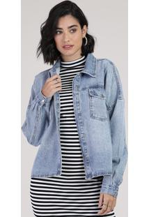 Jaqueta Jeans Feminina Com Bolsos E Botões Azul Claro