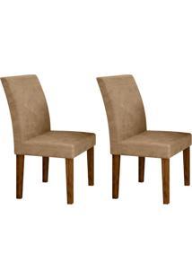 Conjunto Com 2 Cadeiras Olímpia Ipê E Bege