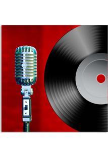 Quadro Microfone Uniart Vermelho 45X45Cm