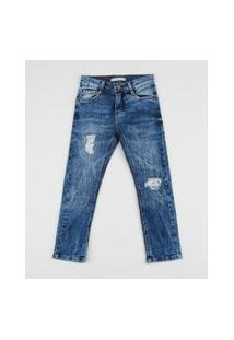 Calça Jeans Infantil Skinny Destroyed Azul Médio