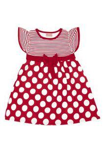 Vestido Infantil - Manga Curta Com Poás - Algodão E Elastano - Vermelho - Duduka