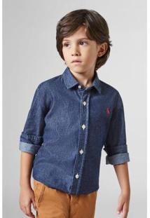 Camisa Infantil Mini Jeans Ml Reserva Masculina - Masculino-Azul