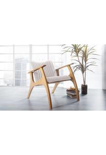 Poltrona Sala De Madeira Decorativa Bege Smith Matelassê - Verniz Amendoa \ Tec.003 Linen Soft Off White 69X83X74 Cm