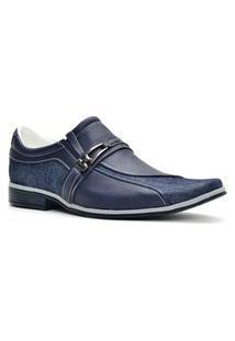 Sapato Social Florense Com Lona Azul