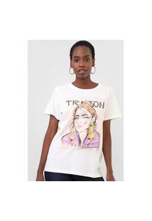 Camiseta Triton She Is Art Off-White
