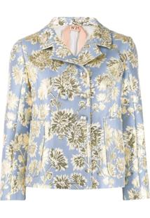 Nº21 Floral Jacquard Double-Breasted Jacket - Azul