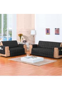 Protetor De Sofá 2 Lugares Com Textura Em Matelassê E Porta Objetos Preto - Rosdry
