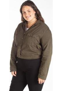 Jaqueta Sarja Color Cropped Feminina Plus Size - Feminino-Verde Militar