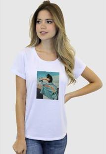 Camiseta Suffix Blusa Estampa Aplicada Em Tecido Jaqueta Jeans Strass Basica Gola Redonda Feminina - Feminino