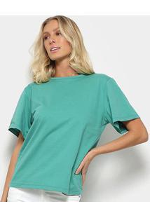 Camiseta Colcci Oversized Maxi Botões Feminina - Feminino-Verde Claro