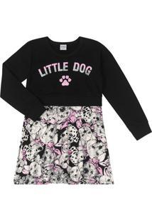 Vestido Infantil Em Moletom Rovitex Little Dog Menina Preto - 2