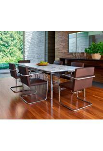 Cadeira Mr245 Cromada Tecido Sintético Bordô Dt 01022812