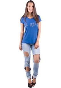 Camiseta Banna Hanna Feminina - Feminino-Azul