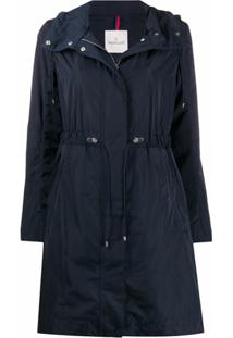 Moncler Trench Coat Com Cinto - Azul