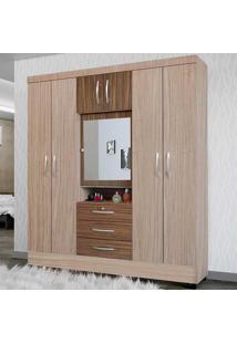 Guarda-Roupa Casal 7 Portas Com Espelho Grafite Riviera/Malbec - Colibri Móveis