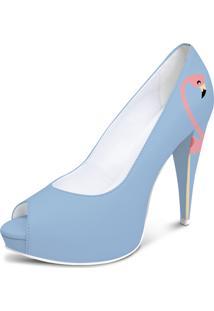 Sapato Peep Toe Noiva/Casamento Lapupa Flamingo Azul Serenity