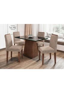 Conjunto De Mesa De Jantar Com Tampo De Vidro Jasmin E 4 Cadeiras Ana I Animalle Preto E Cinza