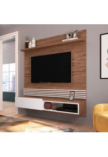 Painel Para Tv Até 65 Polegadas Lahote Marrom E Branco