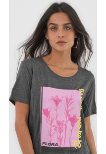 Camiseta Forum Flora Grafite - Grafite - Feminino - Viscose - Dafiti